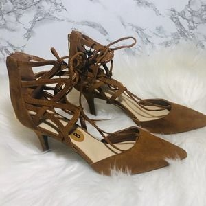 Marc Fisher Pointed Toe Lace Up Heels